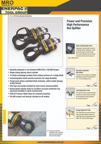 NS-Series, Hydraulic Nut Splitters