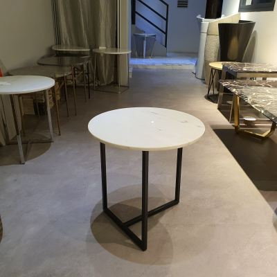 Round Marble Side Table- Sivec White