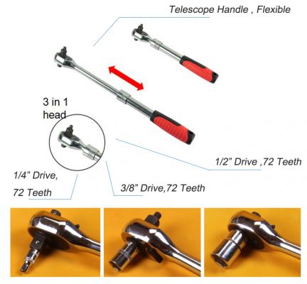 3 in 1  ½��, ¼�� , 3/8�� Telescopic Extendable Long Handle Ratchet Socket ID31982