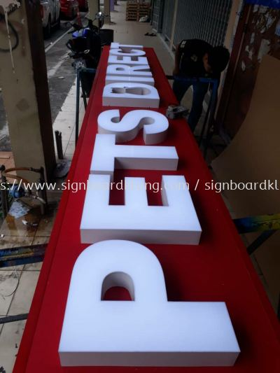 Pets direct 3D LED channel box up lettering signage at subang mydin