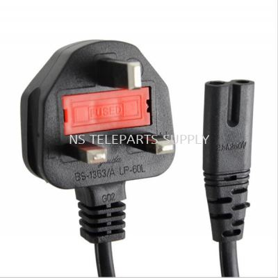 3 PIN POWER CORD UK TO NOTEBOOK 2 PIN