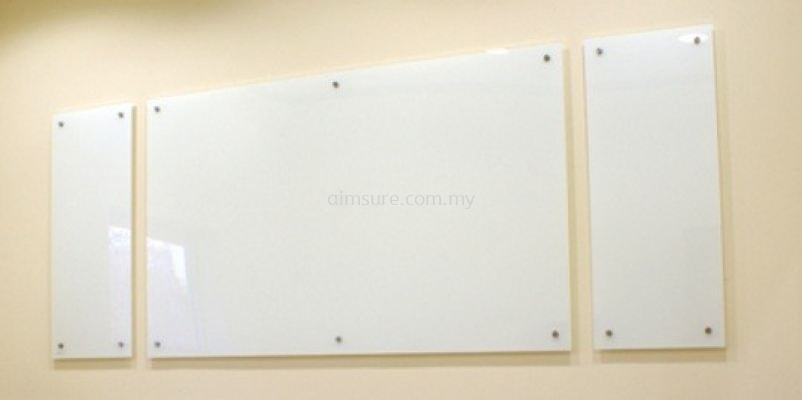 Tempered glass writing board 3 pcs on wall
