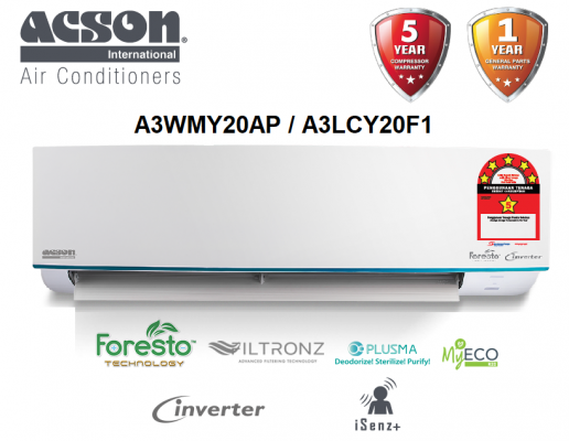 Acson 2.0HP Premium Inverter Air Conditioner R32 AVORY Series A3WMY20AP