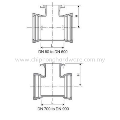 Double Socket Tee With Flanged Branch