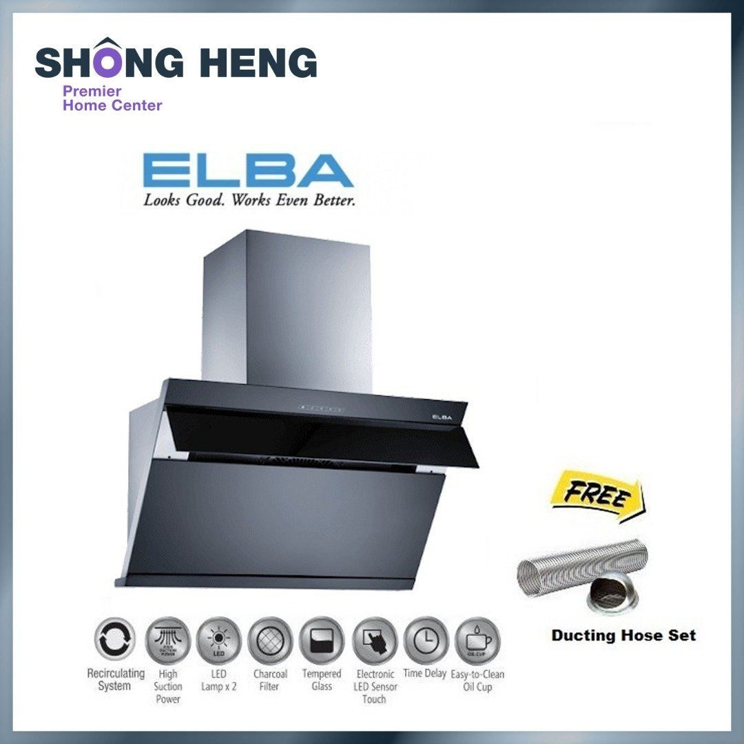 ELBA ETERNO EH-E9121ST Cooker Hood 1400mhr Turbo Clean Recirculating System Charcoal (BLACK) + FREEG
