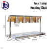 Warming Stall with 4 heating lamp Warming Stall / Heat Lamp Kitchen Equipment