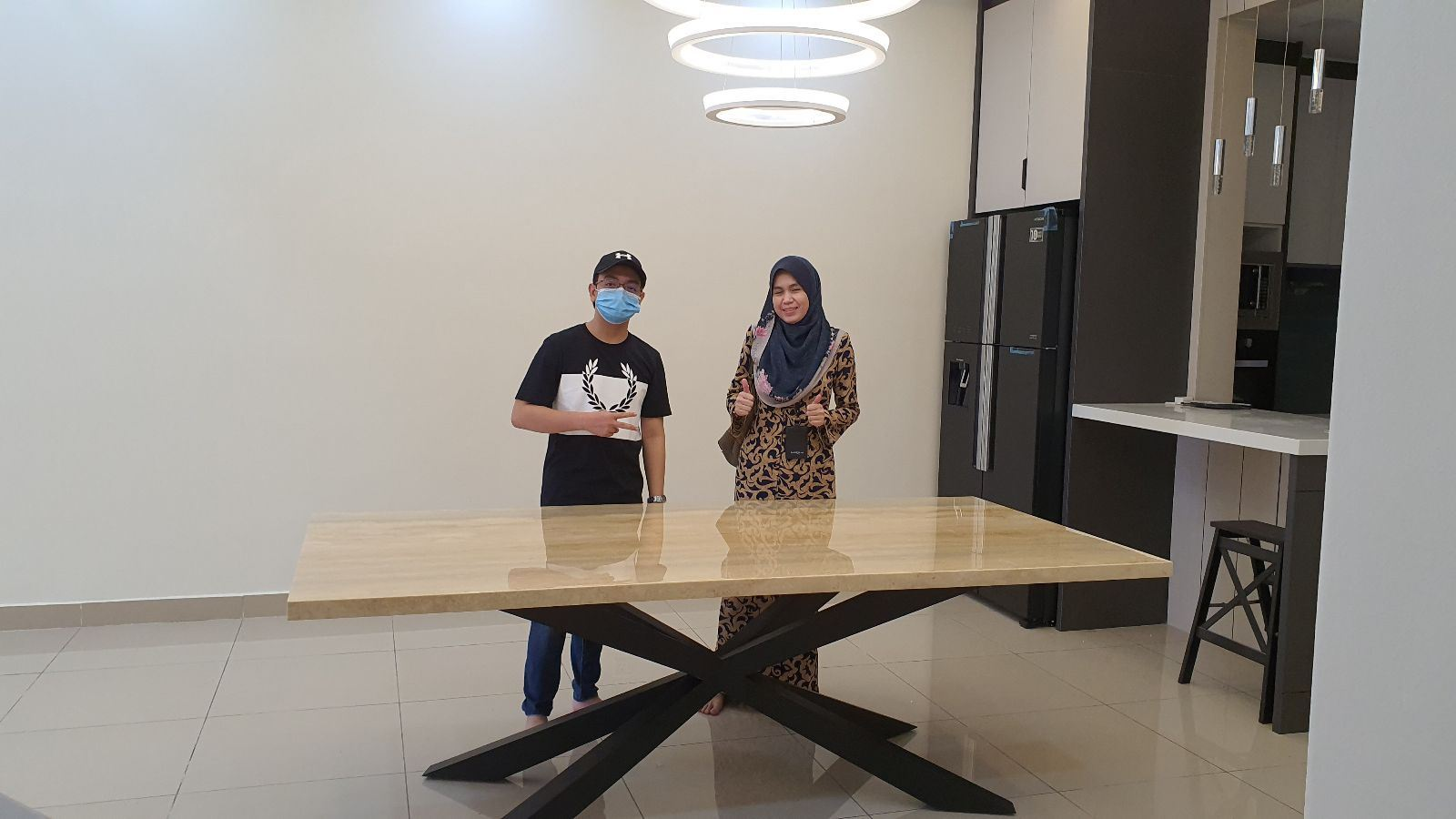 Blue Travertine | 8 seaters luxury marble table
