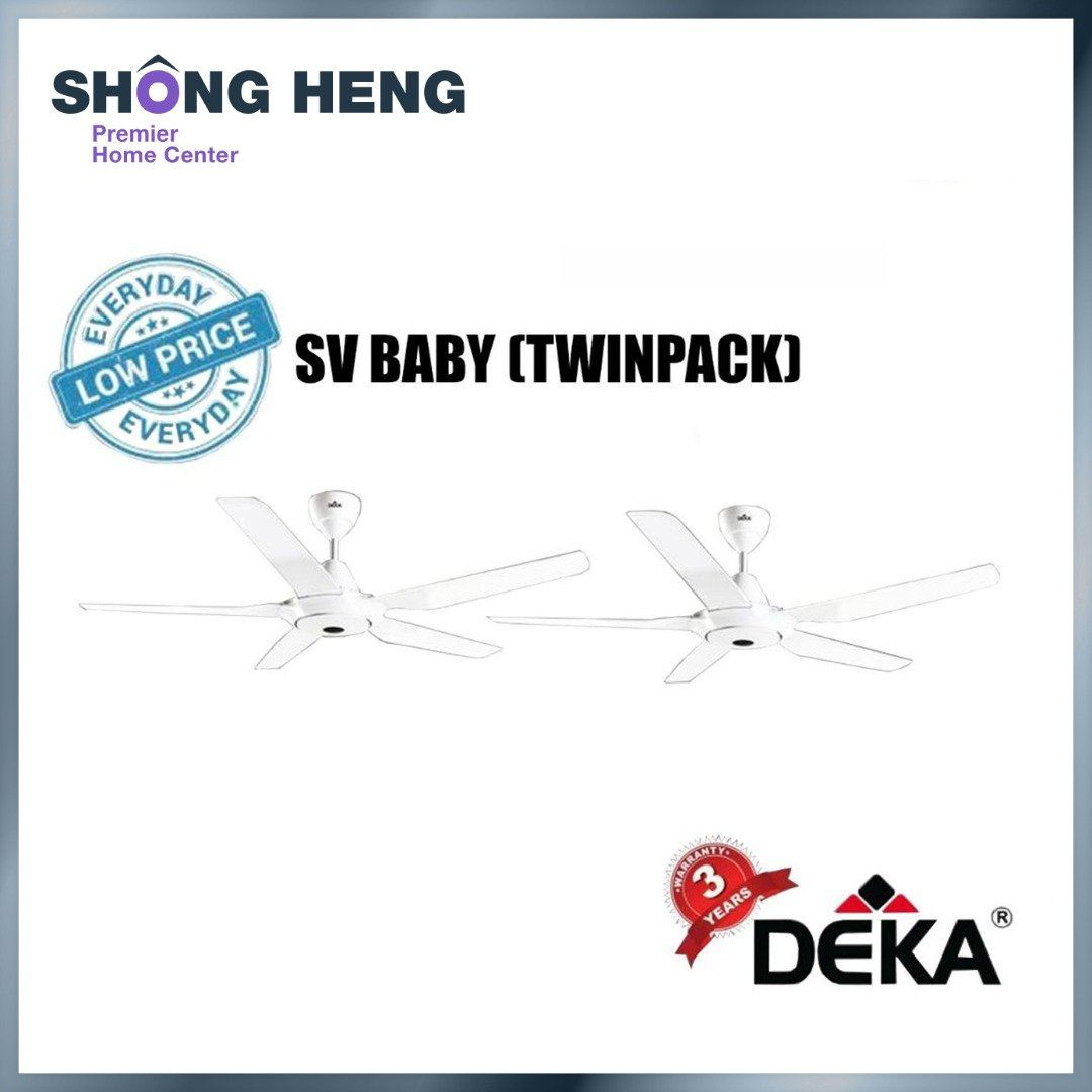 """DEKA 42"""" Reverse Function Remote Control Ceiling Fan SV BABY (WHITE/BLACK) (TWINPACK)"""