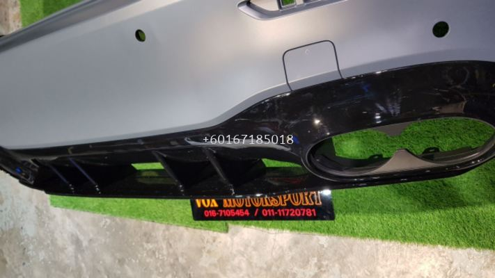 mercedes benz v177 a class sedan rear bumper a45 replace upgrade performance look with diffuser a45 gloss black pp material new set
