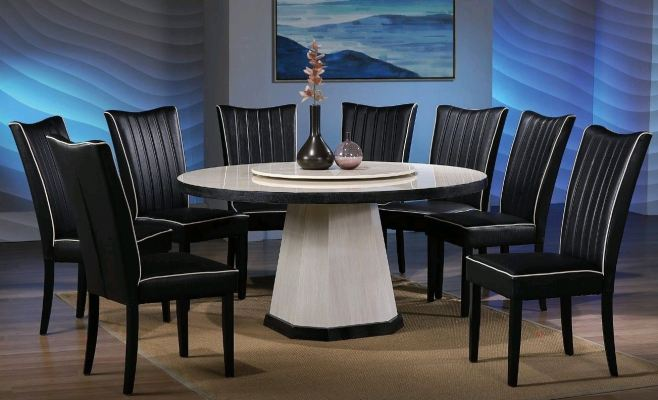 Round Marble Table Dinning Set Table with Chairs