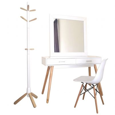 4 in 1 Scandi Dressing Table Mirror Console table Chair and Cloth Hanger