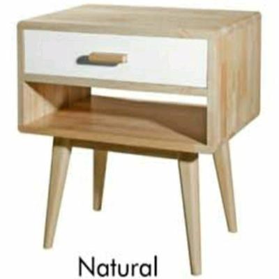 Scandinavian Full solid rubberwood bedside table-4