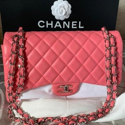 Chanel Classic Jumbo Double Flap Pink Lambskin SHW