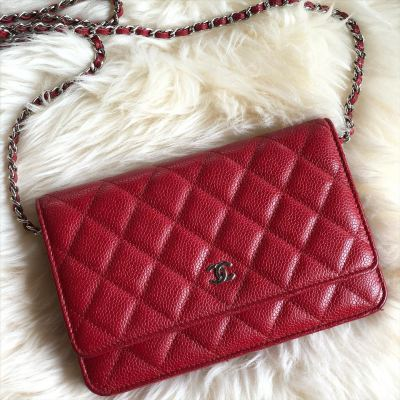 (SOLD) Chanel Classic Wallet on Chain Red Caviar SHW
