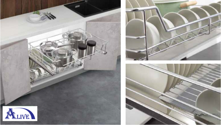 MULTI-FUNCTION PULL OUT BASKET WITH UNDERMOUNT SLIDE