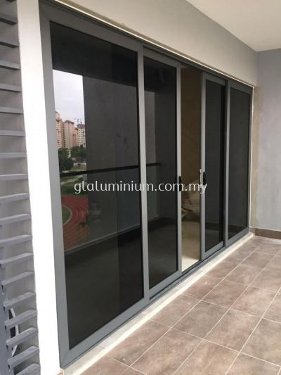 heavy duty sliding doors powder coated ( grey) with glass ( dark)