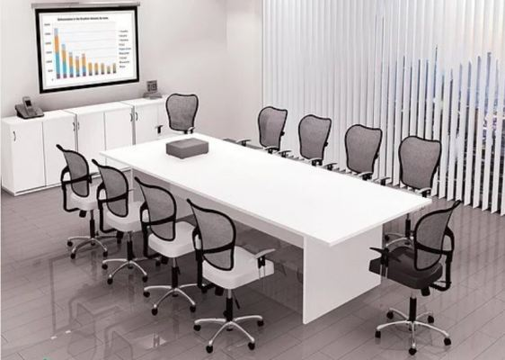 Rectangular conference table with wood panel leg(White)