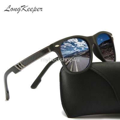 LongKeeper TR90 Polarized Sunglasses Men Square Flexible Driving Sun Glasses Famous Brand Male Women