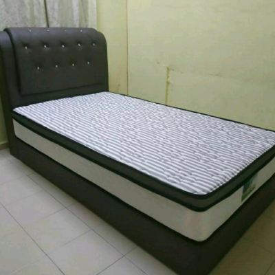 PVC BROWN DIAMOND TURIN SINGLE BEDFRAME WITH MATTRESS DELIVERY TO KULIM RM 1080