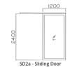 SD2a 6mm natural anodised 1.05 thk aluminium Sliding Door