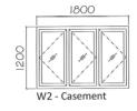 W2 8mm powder coated Casement Window