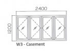 W3 8mm natural anodised Casement Window