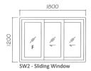 SW2 6mm powder coated 1.0mm thk aluminium Sliding Window