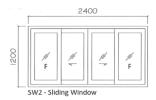 SW3 6mm natural anodised 1.0mm thk aluminium Sliding Window