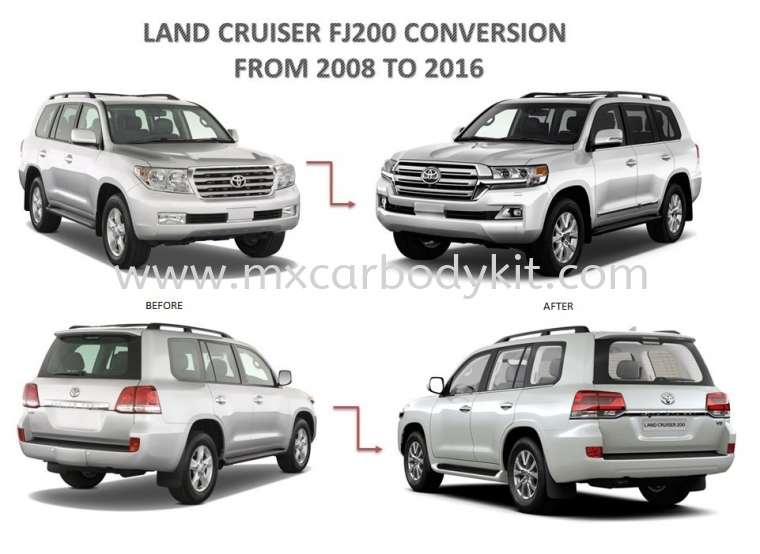 TOYOTA LAND CRUISER CONVERSION FROM 2008 TO 2016 BODY PARTS LAND CRUISER FJ200 TOYOTA