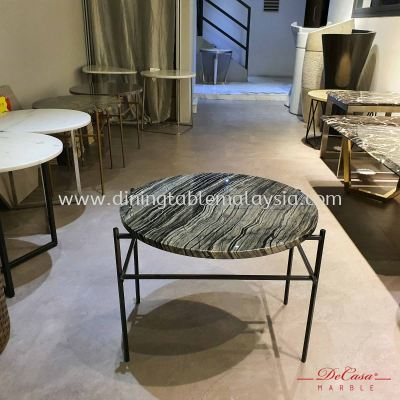 Round Marble Side Table | Antique Wood | (Cash & Carry) RM699
