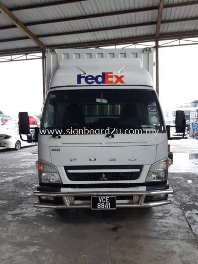 FedEx Ship Center Cutting sticker on Lorry box truck at Bukit Jelutong, Shah Alam, Selangor