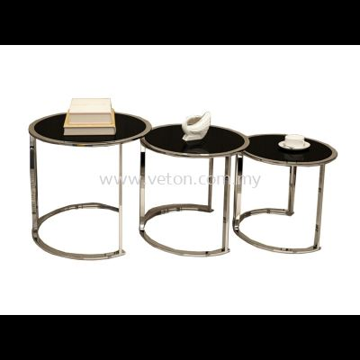 ROUND NESTING GLASS COFFEE TABLE