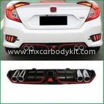 HONDA CIVIC 2016 FC REAR DIFFUSER WITH 4 EXHAUST PIPE & RED (NEW)