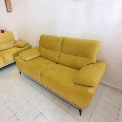 2 seaters Yellow Gold Sofa Aqua fabrics Sofa