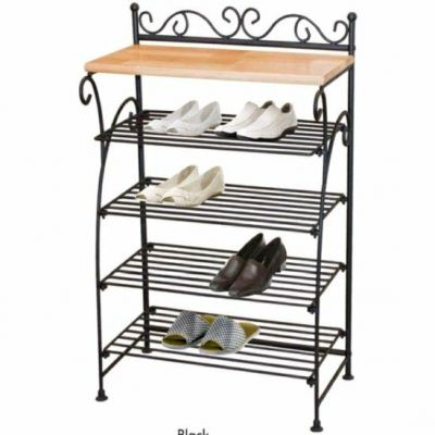 High Quality Metal with Solid Wood beautiful Classical shoe Rack