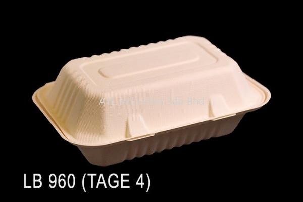 TAGE BAGASSE LUNCH BOX (LB 960) (TAGE 4) (182X137X70) (300PCS) (6X50PCS)