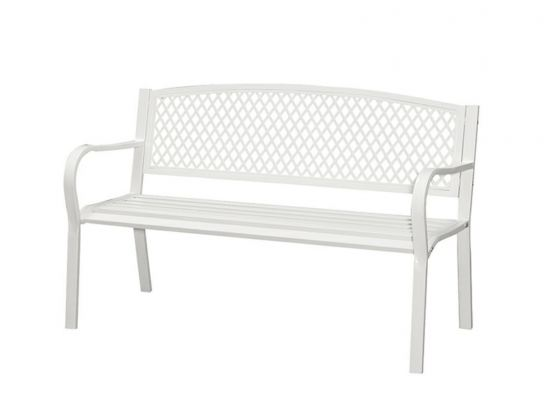 Outdoor Steel Bench - Sandy White