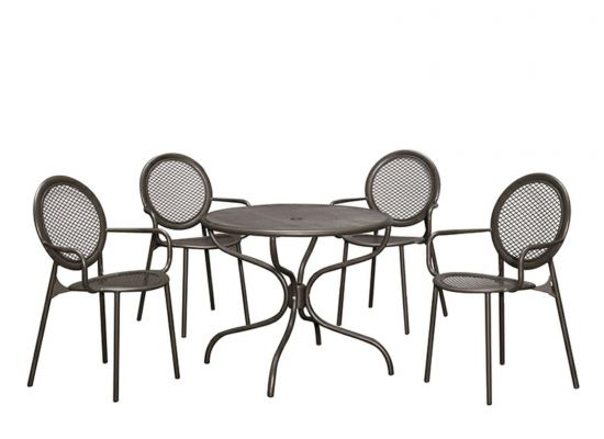 Outdoor Steel Table + Steel Chair Set (1+4) - Cool Grey