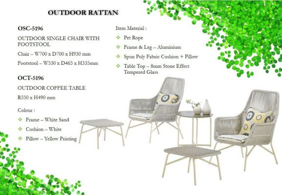 Outdoor Chair with Footstool + Outdoor Table (1+2)