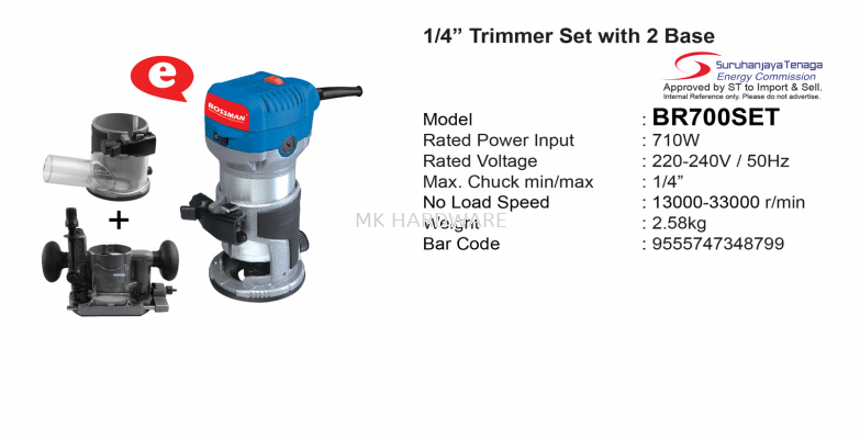 """1/4"""" TRIMMER SET WITH 2 BASE"""