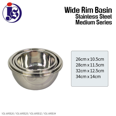 Multi Purpose Stainless Steel Basin (Medium) 26cm / 28cm / 32cm / 34cm