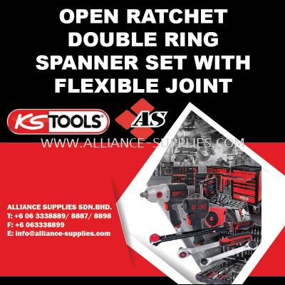 KS TOOLS Open Ratchet Double Ring Spanner Set with Flexible Joint
