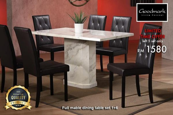 Full Marble Dining Set 1+6