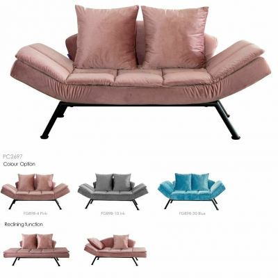 Metal Body Sofabed 3 Seaters - Lavender Chaise Sofa