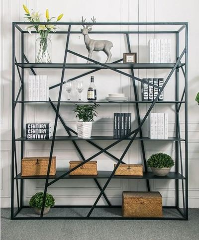 FULLY ASSEMBLE American Iron Multi - Storey Bookcase Rack & Shelves / Hall divider