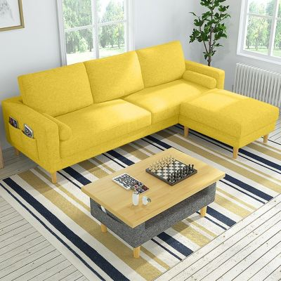 BRAGA 3 Seater L Shaped Sofa FREE 2 Mini Side Bolsters - Canvas Cloth - Home & Living Room