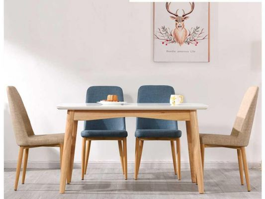 CALLA EAMES KITCHEN RECTANGULAR DINING TABLE SET + 4 NORDIC CHAIRS