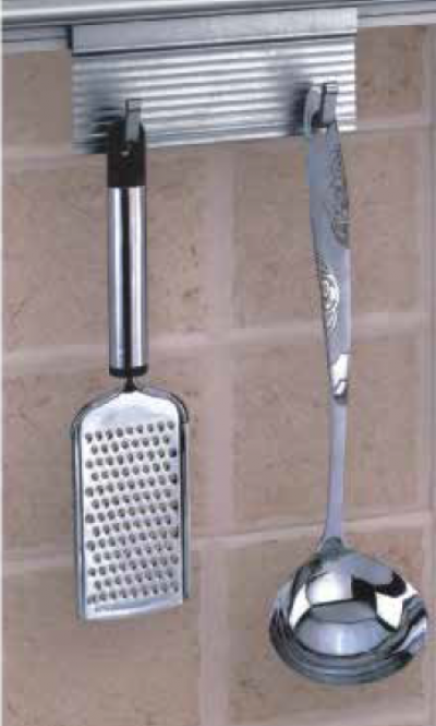 ALUMINIUM SPOON HOLDER WITH 2 HOOKS
