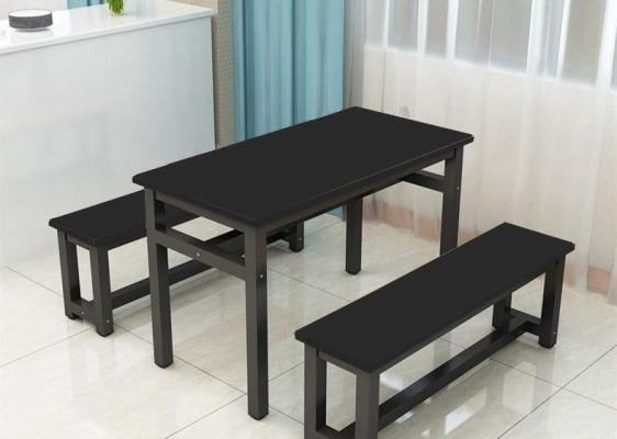 Simple Rectangular Contemporary Dining Table With 2 Bench Set