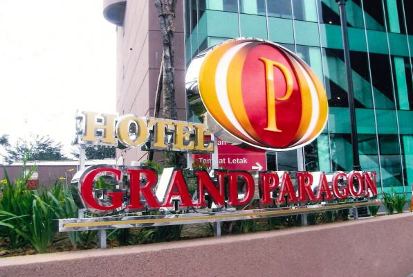 Hotel signage-3D lettering stainless steel box up and acrylic with LED light
